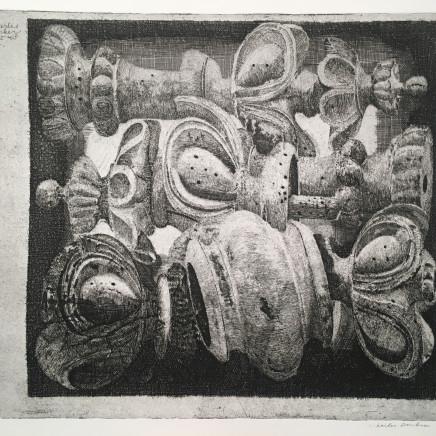 Charles Donker, Ornamenten : Houten schaakstukken met wormgaatjes (Ornements : Pièces d'échec en bois trouées par des vers), 1968
