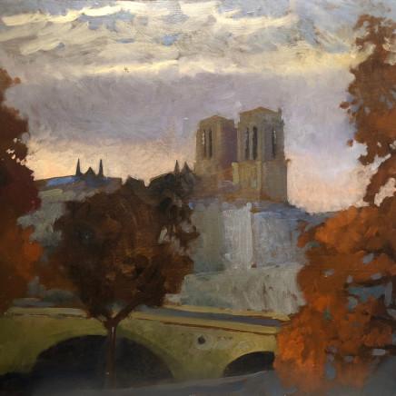 Charles-Élie Delprat, Notre-Dame, depuis l'atelier de la C.I.A, crépuscule, 2020