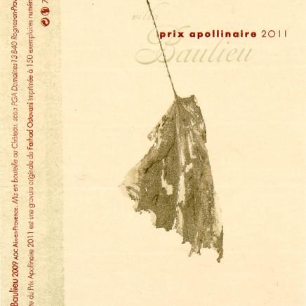 Farhad Ostovani, Feuille - Etiquette du prix apollinaire, 2011