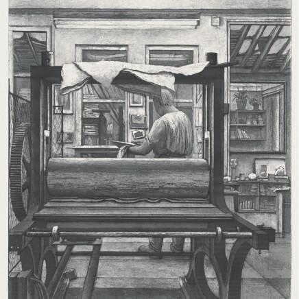 Érik Desmazières, René dans son atelier , 1998
