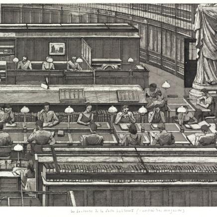 Érik Desmazières, Les Lecteurs de la Salle Labrouste (l'Entrée des magasins), 2001