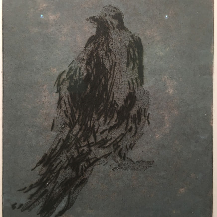 Astrid de La Forest, Empreinte (pigeon de dos, fond bleu), 2014