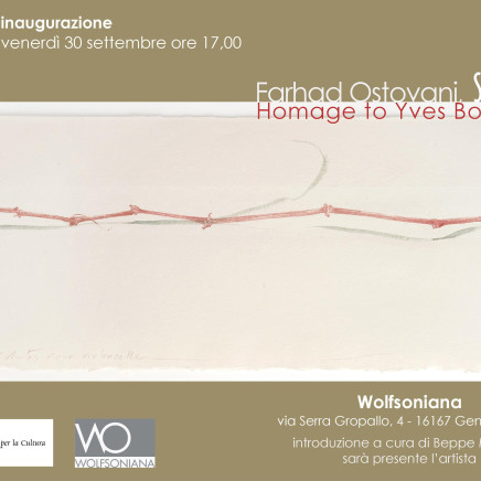 "Invitation à l'inauguration de ""Farhad Ostovani SUITE N°1 Homage to Yves Bonnefoy"""