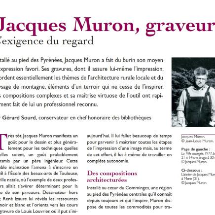Jacques Muron, graveur. L'exigence du regard