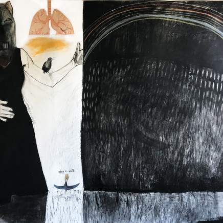 Suzy O' Mullane, Black Rainbow 150 x 205cm, charcoal and pastel on paper, 2020