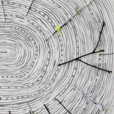 The Past Is A Foreign Country (CROPPED), twenty birch trees, paper + twine, 300 x 400 x 300 cm, with 'Nest' video in background 2 © Anita Groener, LCGA installation shot 2018