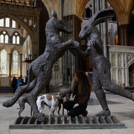 Sophie Ryder - The Minotaur and The Hare on Bench, Conceived 1995, cast 2018