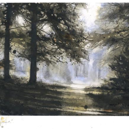 Sun Glimpse, ink, W/c & charcoal on board, 19 x 29 cm