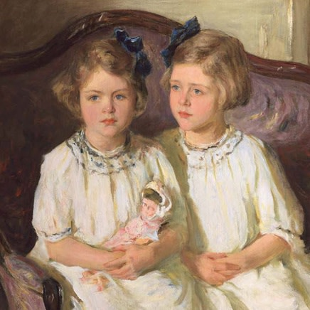Isaac Henry Caliga - Portrait of Two Girls in White