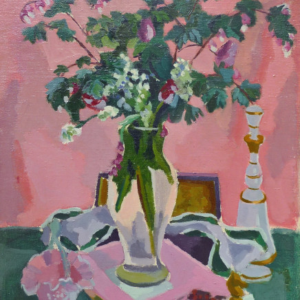 Jules Cavailles - Still life of a glass vase with a decanter and a chess piece.