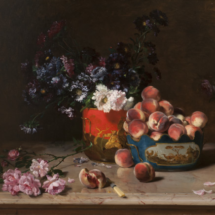 Philippe Rousseau - Still life with peaches and mixed flowers