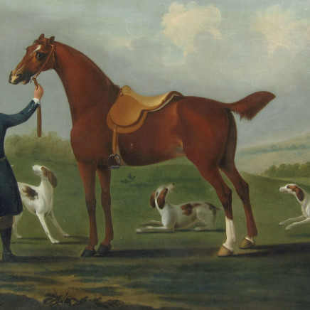 Richard Roper - A Huntsman and his Horse with Three Hounds in an Open Landscape
