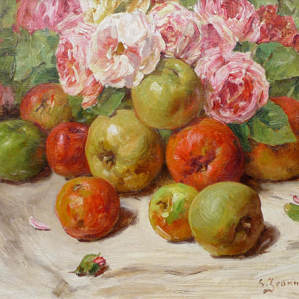 Georges Jeannin - Still life with apples and roses