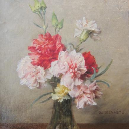 Gustave Bienvetu - Carnations in a vase