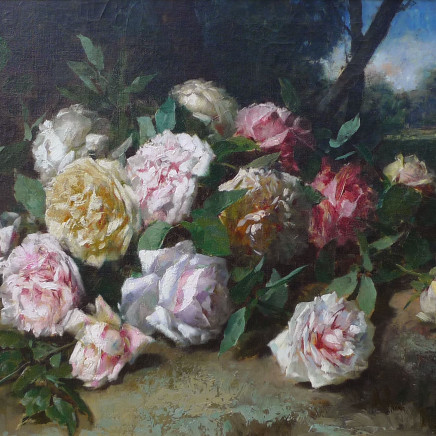 Alexandre-Jacques Chantron - Still life of roses 18 x 25.5 inches canvas size