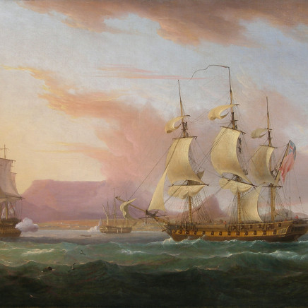 Thomas Whitcombe - Naval ships off Cape Town