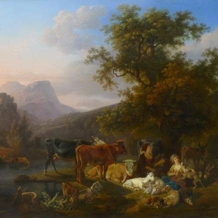 Jean-Louis Demarne - Landscape with animals & figures Oil on panel, signed 20 X 25 1/2 inches canvas size