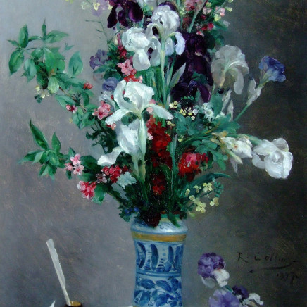 Louis-Joseph Raphael Collin - Mixed flowers in a blue vase