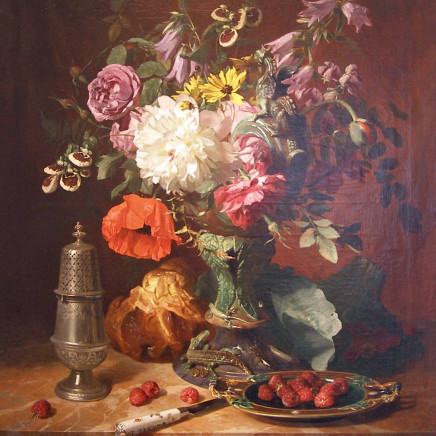 David Emile De Noter - Still life with flowers and fruit