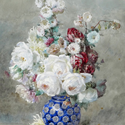 Francois Rivoire - Flowers in a blue vase