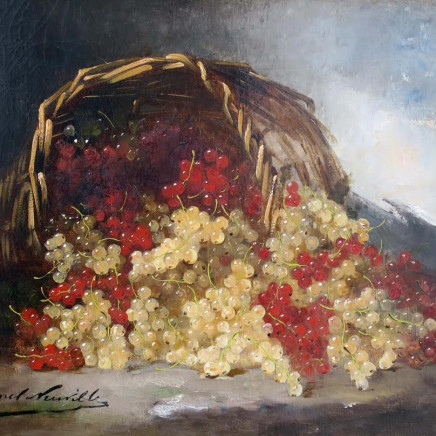 ALFRED-ARTHUR BRUNEL DE NEUVILLE - Still Life of Red and White Currants in Basket