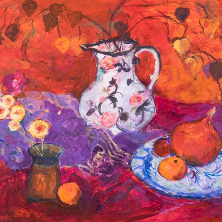 Ann Oram - Red Still-life with Chinese Lanterns