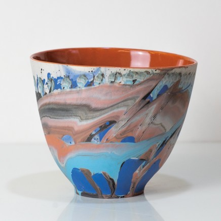 Bowl, action-cast porcelain with matt glazes