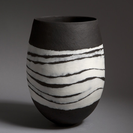 'Black Vessel, Wave Bands', handbuilt stoneware, with inlaid white porcelain