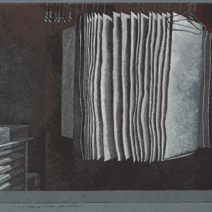 Érik Desmazières, Le Séchoir de l'atelier, rue Hittorf (épreuve rehaussée), 2020