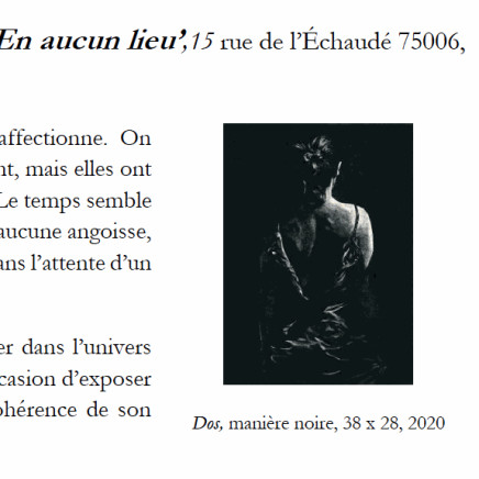 Dos, 2020. Manière noire, 38 x 28 cm