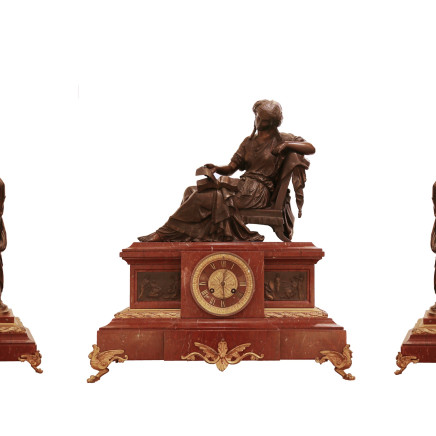 Mathurin Moreau - Bronze and marble clock garniture, Late 19th century