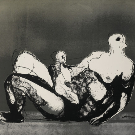Henry Moore OM CH - Reclining Mother and Child with Grey Background, 1982