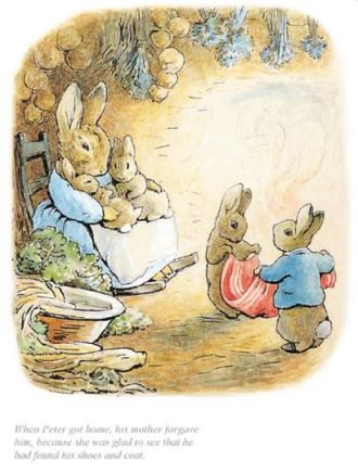 Beatrix Potter, When Peter got home his mother forgave him