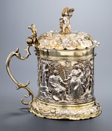 Daniel Schwestermuller, Goblet with lid and silver decorations mounted on vermeil silver, Aachen, ca. 1685-1690
