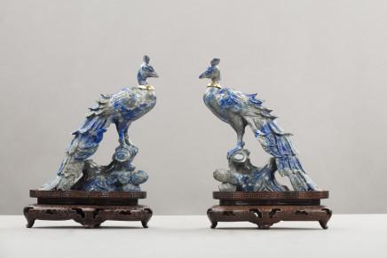 Pair of lapis figures of birds, Prob. Russian, 1930 circa