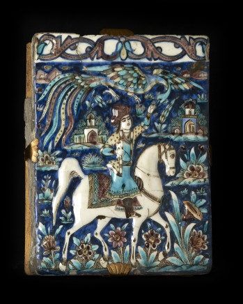 Pair of rectangular low-relief majolica tiles depicting horsemen, Iran, 19th century