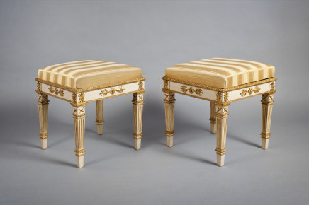 Pair of carved Louis XVI stools, Naples, end of 18th Century
