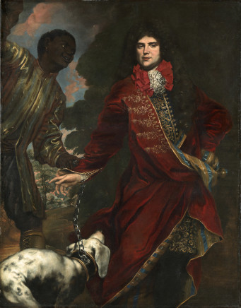 Nicolò Maria Vaccaro, Portrait of a gentleman wearing a red tailcoat, with hound and black servant, 1690 circa