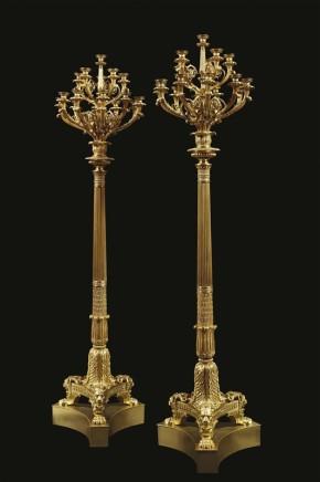 Pair of monumental candelabra, ca. 1830
