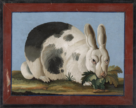 An Italian micromosaic plaque depicting a rabbit, First half of the 19th century