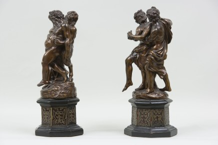 A pair of bronze groups with mythological figures, Probably Florence, late 17th Century