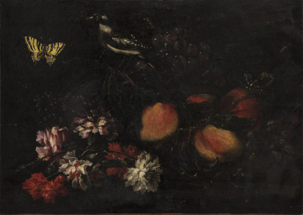 Still life with flowers and a goldfinch, Lombardy, 17th Century