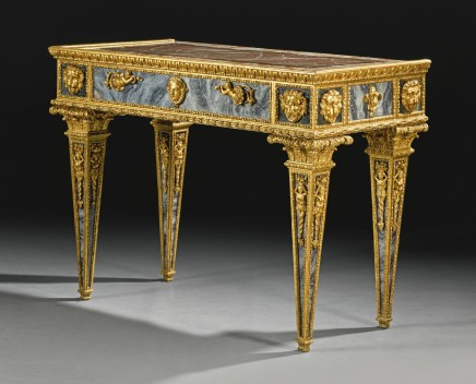 A Sicilian Neoclassical Giltwood and Reverse Painted Glass Console Table