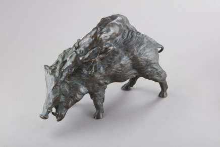 Bronze figure of a Boar and a Dog, 19th Century