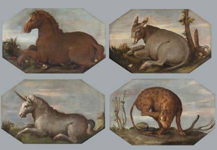 Set of 4 paintings depicting animals, Lombardy, 18th Century