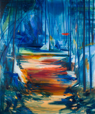 Calum McClure, Red Path, Blue Trees, 2019
