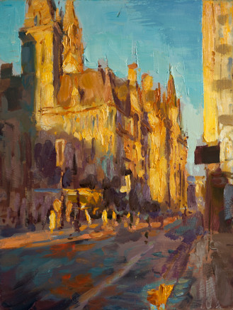 Rob Pointon AROI RBSA MAFA, Morning Sun on the Town Hall