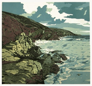 Ann Lewis RCA, Old Red Rock at the Waters Edge, Freshwater East