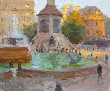 Norman Long MAFA, Golden Light, Trafalgar Fountains