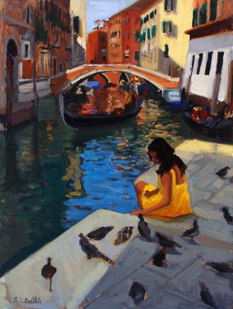 Steven Smith, Girl in a Yellow Dress Gondola Stop at Santa Maria Formosa, Venice